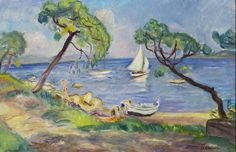 Charles Camoin, Saint-Tropez, voilier blanc dans la baie des Canoubiers, 1939 (Huile sur toile, 60 × 92 cm - Collection particulière © Jean-Louis Losi © ADAGP, Paris 2016 Henri Matisse, Saint Tropez, Art Fauvisme, Maurice De Vlaminck, Catalogue Raisonne, People Illustration, Classical Art, French Artists, Landscape Art