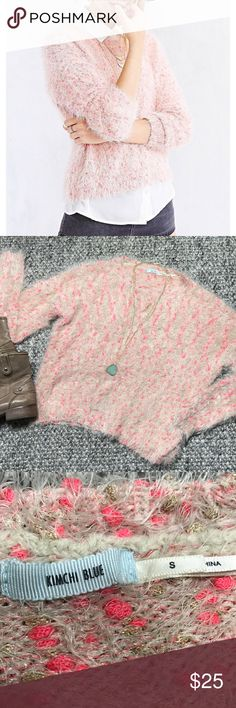 "Kimchi Blue Fuzzy Sweater Pale pink fuzzy soft sweater with specks of neon pink and gold throughout.  Armpit to Armpit 21"" Length 20"" Sleeve 24"" Kimchi Blue Sweaters Crew & Scoop Necks"