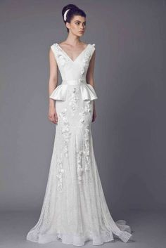Belladonna - Lace Off White gown with V neckline, peplum waist, Guipure and Lace embellishments.
