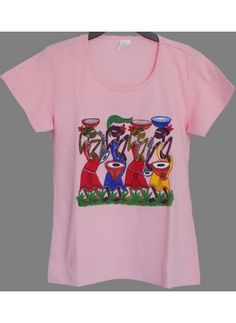 Ladies Pink Hand Painted Tshirt Extra Large - West Bengal Tribal  Size: Extra Large (Bust: 38 inches, Shoulder: 15 inches, Length: 26 inches)  Color: Pink  Paint Type: Acrylic fabric paint  Painting Theme: West Bengal Tribal  Wash Care: Hand wash, Cold Water, Reverse side iron  http://bookurgift.com/1477-ladies-pink-hand-painted-tshirt-extra-large-west-bengal-tribal