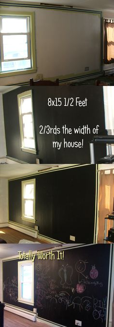 black board painted over half the width of my house - worth it!