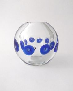 Skrdlovice Pavel Stejskal 7808 -- optic ball glass vase -- Czech art glass