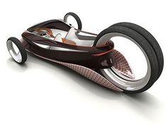 Hermoso triciclo recumbente conceptual