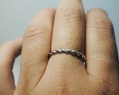 simple silver twisted ring, thin minimal look
