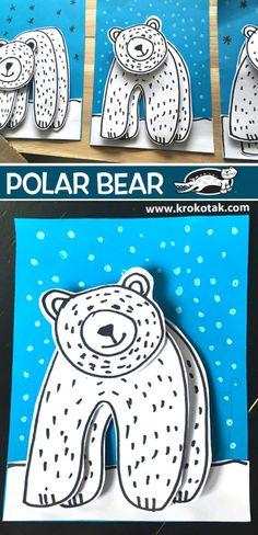 Polar bear paper craft for kids Winter Art Projects, Winter Crafts For Kids, Paper Crafts For Kids, Winter Fun, Art For Kids, Diy Paper, Paper Art, Arte Elemental, Classe D'art