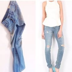 """Current/Elliottboyfriend jeans 30 8/10 destroyed Amazing! Super loved, super destroyed boyfriend jeans from current/Elliott. These are just incredible jeans! They are so comfy, they feel like sweatpants, but can be worn out on a Saturday night! NWOT/tag marked to prevent returns. They retail for $228, are brand new and a size 30! 16.75"""" waist, 19"""" hip  These are 'The Skinny' in the Tattered Destroyed wash.   Each pair just a little different, just the right amount of distressing/fading…"""