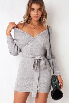 V Neck Wrap Knit Long Sleeve Casual Sweater Dress | Knitted