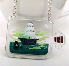 Ghost Ship in a Bottle clear acrylic charm by theGorgonist on Etsy