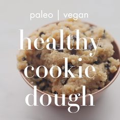This healthy cookie dough is an edible paleo cookie dough recipe that you ll want to make multiple times a week Rich sweet and just like mom s chocolate chip cookie dough this vegan cookie dough is totally safe to eat and guilt-free too vegan paleo Edible Cookies, Healthy Cookies, Healthy Desserts, Cookie Dough Vegan, Cookie Dough Recipes, Chickpea Cookie Dough, Healthy Edible Cookie Dough Recipe, Cookie Dough For One, Protein Cookie Dough