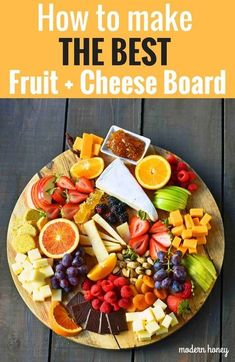 How to make the BEST Fruit and Cheese Board. How to make a cheese plate. Ideas o… - Fruit Party Platters, Cheese Fruit Platters, Food Platters, Cheese Platters, Fruit Trays, Cheese Tray Display, Fruit Dishes, Breakfast Platter, Snack Platter