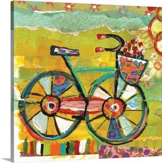 Happy Go Lucky - Bicycle Wall Art, Canvas Prints, Framed Prints, Wall Peels Bicycle Painting, Bicycle Art, Kids Room Wall Decals, Wall Art, Framed Prints, Canvas Prints, Art Prints, Big Canvas, Bicycle Illustration
