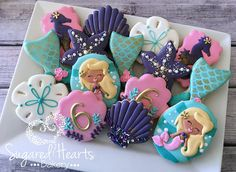 ****Please contact me prior to purchasing this listing to verify that I am available for your event date.**** This listing is for 1 dozen (12) Mermaid Birthday Cookies Mermaid Birthday Cookies - Blonde Mermaid Sea Shells Mermaid Tails Sea Horse. These mermaid cookies are sure to