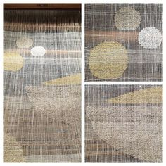 Unusually warm weather prompted visions of light and air and linen and cotton boucle ... #saoriweaving #saori #handwoven #linen #inlay #dots #circles #readytohand #boucle #hemp #weaversofinstagram #linenweaving
