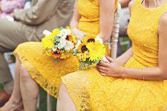 rustic sunflower wedding ideas - retro lace yellow bridesmaid dresses