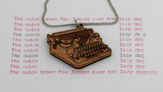 Laser cut wood pendant necklace, vintage antique typewriter with stainless steel chain. $25.00, via Etsy.