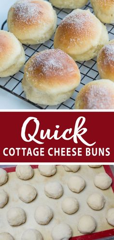 Light and airy cottage cheese buns you will love this recipe. No rising time so easy to prepare! Add these quick buns to your next dinner or just a snack! Quick Bread Recipes, Baking Recipes, Cottage Cheese Desserts, Cottage Cheese Bread Recipe, Cottage Recipe, Cottage Cheese Breakfast, Cheese Buns, Easy Bun, Bun Recipe