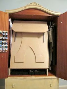 THIS IS AWESOME! I have to find a armoire and make this for the den! Amoire idea from consignments / garage sales Cottage Hill: DIY Sewing Cabinet Craft Armoire, Craft Cabinet, Sewing Cabinet, Cabinet Storage, Amoire Storage, Cabinet Ideas, French Armoire, Antique Armoire, Sewing Room Organization