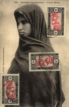 'Moorish woman' postcard.  Dakar, Senegal; 1915-1921