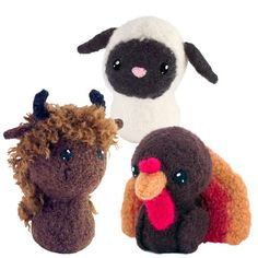 CraftyAlien® - Born in a Barn 4 Felted Knit Amigurumi Pattern: Buffalo, Sheep, Turkey, $6.00