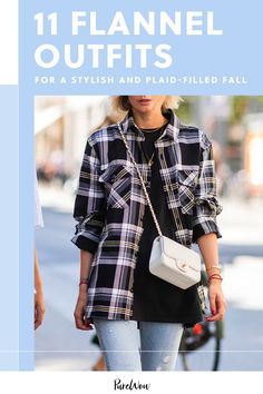 Here, 11 stylish women show off their best flannel outfits, so you can have your most stylish, plaid-filled fall yet. #flannel #outfit #ideas Flannel Outfits, Flannel Shirts, Denim Cutoffs, Printed Pants, Colored Jeans, Winter Outfits, Autumn Fashion, Plaid, Stylish
