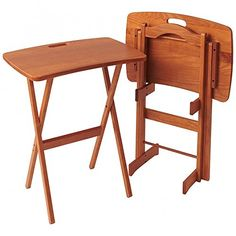 Manchester Wood Portable Folding Tray Table Desk Set of 2  Golden Oak -- Read more  at the image link.Note:It is affiliate link to Amazon. #foryouby