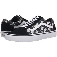 Vans Old Skool ((Vintage Floral) Blue Graphite) Skate Shoes ($60) ❤ liked on Polyvore featuring shoes, blue shoes, vintage lace up shoes, floral print shoes, blue leather shoes and breathable shoes