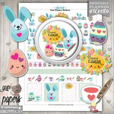 Easter Stickers, Planner Stickers, Kawaii Stickers, Printable Planner Stickers, Spring Stickers, Planner Accessories, Eggs, Egg Stickers