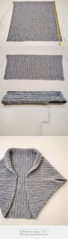 How to fold and sew a basic knit rectangle into a shrug ~ The Shrug Blog:
