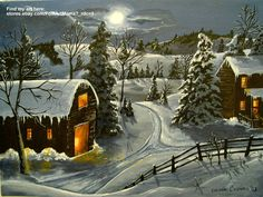 """Midnight Arrival"" folk art painting landscape winter snow barn country moon night road trees"