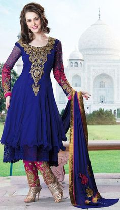 $129.10 Blue Full Sleeve Faux Georgette Long Anarkali Salwar Kameez 21738