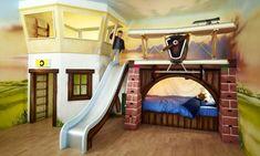 kinderbett mit rutsche im abenteuer jungenzimmer Beautiful Color Combinations, Bunk Beds, Rattan, Rum, Inspiration, Furniture, Brooklyn, Bedrooms, Ship