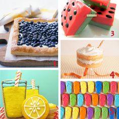 Summer Fun Desserts | 1) Blueberry Tart 2) Lemonade Cookies 3) Watermelon Fudge 4) Creamsicle Trifle 5) Flip Flip Cookies