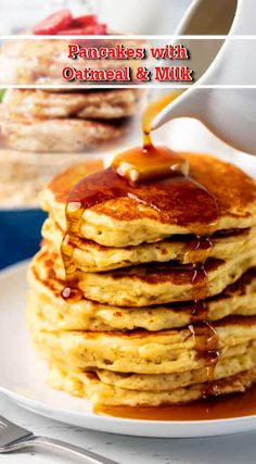 For 6 to 8 pancakes:   60 gr of rolled oats 60 gr of small spelled flour (or wheat) 1 tsp baking powder ¼ tsp baking soda 1 egg 20 cl milk ( fermented milk) 1 tablespoon olive oil (or melted butter) Oil or butter for cooking And also: 1 ½ tsp of sugar or ¼ tsp of salt depending on the version you choose. Perfume, spices… or not, it is according to the desires and tastes. Baked Pancakes, Oatmeal Pancakes, Butter Oil, Melted Butter, Rolled Oats, 1 Egg, Easy Cake Recipes, Cl, Baking Soda