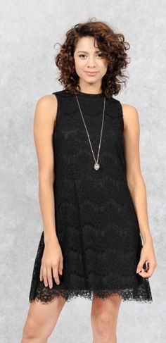 758bcab2ef3 Cute black lace shift style dress with a high neckline and small keyhole  back. Perfect