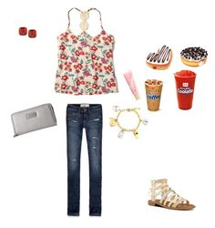 """My friends, i, and dunkin donuts..."" by nanalii on Polyvore featuring moda, Hollister Co., Nine West, Kate Spade, Tommy Hilfiger, Juicy Couture y Lano"
