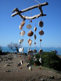 Acchiappasogni scacciaspiriti sonagli al vento legno di mare, stile marino e shabby chic, dream catcher, wind chime, seashell. Driftwood [handmade coastal marine seashell seashells driftwood natural wood rustic design modern interior outdoor outside italy italian italia wind chime windchime dream cathcer creacmatcher acchiappasogni sonagli al ventohome decor decoration idea idee regalo gift her him]