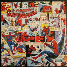 Spider-Man Decoupage {Mod Podge}.  This would be great in a series of canvases for my sons wall