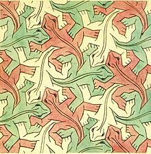 Escher - Hexagonal tessellation with animals:Study of regular Division of the plane with Reptiles (1939)