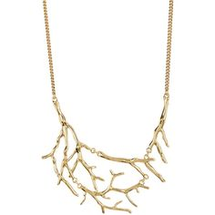 Diane von Furstenberg Twig Bib Necklace ($27) ❤ liked on Polyvore featuring jewelry, necklaces, gold, diane von furstenberg, bib necklace, bib jewelry and diane von furstenberg jewelry