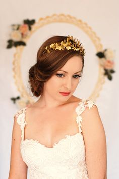 Greek Goddess Laurel Leaf Crown Gold Tiara by AnnaMarguerite, $120.00