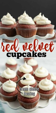 As beautiful as they are delicious, Red Velvet Cupcakes are my favorite way to enjoy Red Velvet Cake. Make them for Valentine& Day, Fourth of July or anytime of year! Sweets Recipes, Cupcake Recipes, Baking Recipes, Cupcake Cakes, Cup Cakes, Cupcake Cream, Cupcakes With Cream Cheese Frosting, Buttercream Frosting, Red Velvet Cupcakes