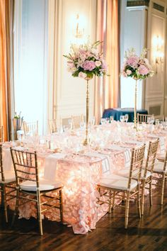 Pink and White Ballroom Wedding Table | photography by http://www.blainesiesserphotography.com/