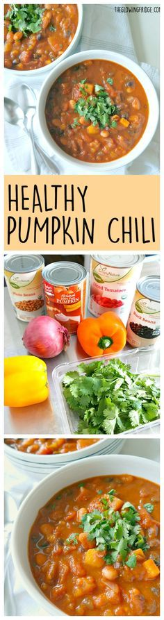 Healthy Pumpkin Chili - vegan and gluten free - hearty, creamy, rich and ready in 35 minutes! This savory pumpkin chili is warming, nourishing and festively healthy. From The Glowing Fridge. (Last Minutes Recipes) Chili Recipes, Soup Recipes, Vegetarian Recipes, Dinner Recipes, Cooking Recipes, Healthy Recipes, Vegan Soups, Canned Pumpkin Recipes, Yummy Recipes
