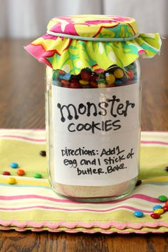 Monster Cookie mix - great gift for a child to give to a teacher.