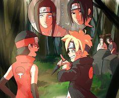 Neji and Boruto ♡ Itachi and Sarada Naruto Shippuden Sasuke, Naruto And Sasuke, Itachi, Anime Naruto, Sarada E Boruto, Naruto Comic, Naruto Cute, Shikadai, Naruhina