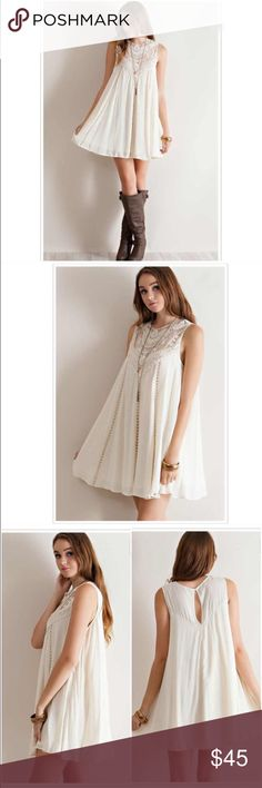 "NWT Cream Crochet Lace Dress NWT Romantic Lace Cream Dress. Beautiful lace/crochet detailing around the neckline and front, ladder lace detailing to bottom hem. Flowy style with keyhole back closure. Fits true to size with a loose fit. Fabric is Rayon, lined, non-sheer. Length: Small 33.5"", Medium 34"", Large 34.5"" Available in S (0-4), M (6-8), L (10-12). 🚫No Trades and No Paypal🚫Bundle discount and discounted shipping available! Dresses"