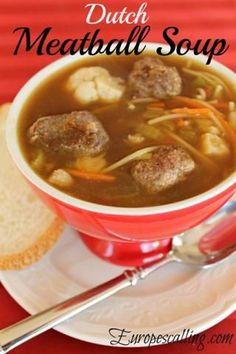 We Dutch love soup :) Dutch Recipes, My Recipes, Soup Recipes, Cooking Recipes, Netherlands Food, Holland, Meatball Soup, Scandinavian Food, International Recipes