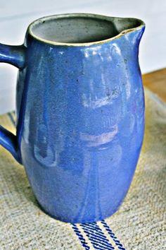 Vintage Blue English Stoneware Pitcher