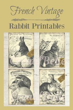 French Vintage Rabbit Tag Printables.  These are so adorable.  I love printables.  The possibilities are endless as to what you can do with them.  #frenchcountry #frenchfarmhouse #farmhouse #farmhousestyle #vintagestyle #printable #gifts #tags #etsyfinds #affiliatelink