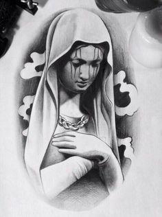Bible Tattoos, Jesus Tattoo, Angle Tattoo, Chicano Tattoos Sleeve, Girl Face Tattoo, Clown Tattoo, Religious Tattoos, Desenho Tattoo, Chicano Art